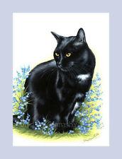 Black Cat Print Forget-Me-Not by I Garmashova