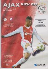 Programma / Programme Ajax Amsterdam v FC Utrecht 07-10-2012