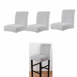 3Pcs Stretch Short Back Dining Chair Cover Pub Bar Stool Seat Slipcover Grey