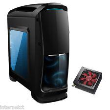 AVP Venom Nero ATX MATX PC Tower Case-Alimentatore da 500 W SATA PSU-Side Window & Blue LED