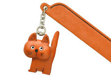 Walking Cat Plain Leather Charm Bookmarker *VANCA* Made in Japan #61415