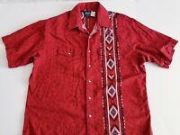 Vintage Wrangler Mens XL S/S Pearl Snap Button Up Western Shirt Aztec Southwest