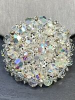 Vintage Pin Brooch Clear Rhinestone Capped  Aurora Borealis Crystal 1950's WOW