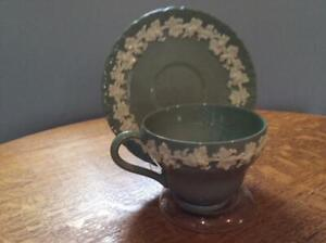 Wedgwood Embossed Queensware cream on celadon shell edge cup and saucer