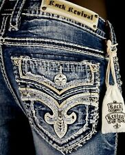 """$180 Buckle Rock Revival Jeans """"Beliss"""" Leather Inserts Fraying Pockets Straight"""