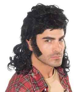 Mullet Man Wig 80's Joe Dirt Fancy Dress Up Halloween Costume Accessory 3 COLORS