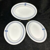 Lot of 3 Vintage Pyrex Tableware Platter Bradford House White Blue Oval12x8