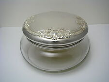 GORHAM STERLING SILVER & GLASS POWDER JAR STERLING SILVER LID by Gorham ca1900s