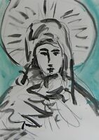 JOSE TRUJILLO - ACRYLIC PAINTING Modern PORTRAIT Virgin Mary - Highly Collecible