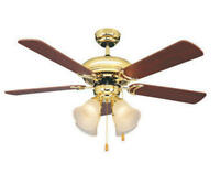"""Minerva 44"""" Bright Brass Ceiling Fan 3 Speed Reversible Motor With 4 Lights"""