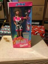 Got Milk? BARBIE #15121 Special Edition, wearing cow-print overalls NRFB 1995