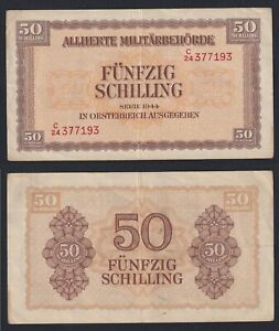 Austria 50 Schilling 1944 Alliierte Militarbehorde BB / VF C-10