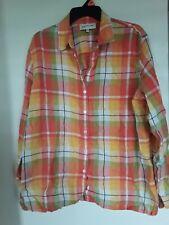 Jones New York  Plaid Linen Rayon Blend Long sleeve  shirt top  Blouse  Sz  XL