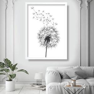 DANDELION spores Illustration v1 Art Print Poster Garden Flowers Picture
