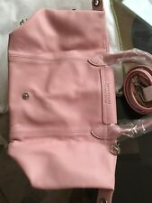 $495.00 Longchamp Medium Le Pliage Cuir Leather Top Handle Tote Pink