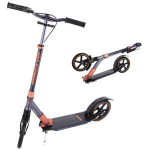 Scooter Cityroller für Erwachsene mit Handbremse große Räder 230mm Tretroller