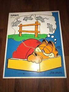 Vintage 1978 Playskool Garfield Nap Time Wooden Puzzle Jim Davis 250-3