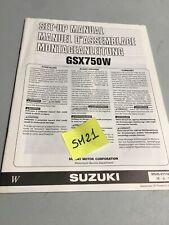 Suzuki GSX750 Inazuma 1998 W GSx 750 instruction preparation manuel montage