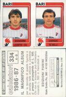 CALCIATORI PANINI 1986/87*FIGURINA STICKER N.334-BARI,LOSETO-ROSELLI