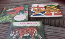brooke bond albums x 3 tropical birds asian wildlife, flags emblems of world