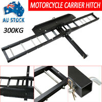 Heavy-duty 300kg Motorcycle Carrier Hauler Hitch Mount Rack Anti Tilt Tow Bar AU