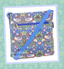 "Super Chic Oilcloth Messenger Bag Blue ""Strawberry Thief"" by William Morris"