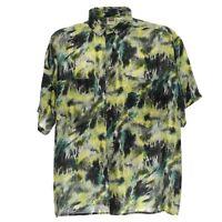 Vintage Kurzarmhemd Seide Silk Größe L Herren Shirt Retro Muster Freizeithemd