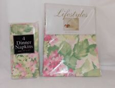 New Bardwil Tablecloth and Napkin Set Floral Flower Martha's Vineyard  52 x 52