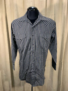 Mens Panhandle Slim Western Shirt L Black Striped L/S Cot/Poly Rockabilly Rodeo