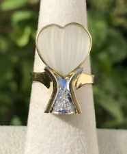 Estate Designer 18k Yellow Gold Carved Rock Crystal Heart & Diamond Ring