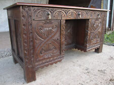 Victorian Heavy Carved Oak Kneehole Desk, 2 Cupboards 3 Drawers (519)