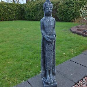 Steinfigur stehender Buddha schmal Shiva Göttin Stein Steinguss Farbe schwarz 67