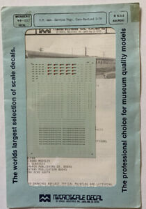 MICROSCALE N SCALE DECAL - SOUTHERN PACIFIC / SP GENL SVCE PASS CARS - #60-107