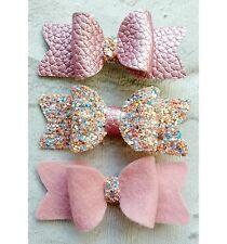 "Mini Set Of 3 Pink Glitter Felt Fabric Hair Bow Clip 2.5"""