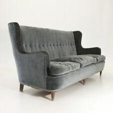 Divano tre posti in velluto anni 50, mid century velvet sofa, brass legs, italia