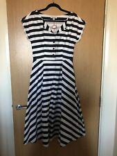 Emily & Fin Women's Jodie Dress Size S/10 Navy Blue Nautical Stripe Print New
