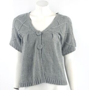 Kimchi Blue Cardigan Sweater Size XS Gray Cable Knit V Neck Snap Up Wool Blend