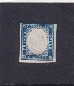 ITALIA ITALIAN STATES SARDEGNA SARDINIA 1862 20c INDACO CHIARO* MH - NUOVO CON G