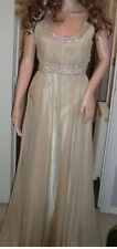 BNOWT Ladies La Femme Nude/Caramel Grecian Ruched Jewel Waist Chiffon Dress-US 0