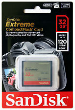 SANDISK Extreme 32GB CF Compact Flash Memory Card 32G 120MB/s UDMA 7 800x
