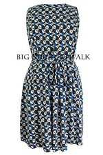 Ladies Retro Dress Blue Beige Size 16