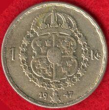 SWEDEN 1 KRONA - 1947 - 40% SILVER - 0.0900 ASW