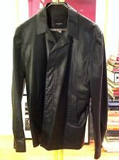 COSTUME NATIONAL HOMME - Lt Wt BLK LEATHER JACKET COAT UNLINED 52EURO