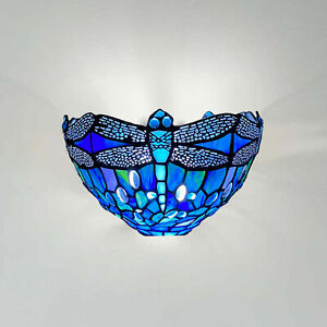 Tiffany Style Blue Wall Lamp Antique Lamps Stained Glass Uplighter Handcrafted