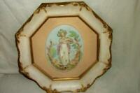 FRENCH GILT CREAMY OCTAGON FRAME PORCELAIN PLAQUE LADY HP WOOD GESSO MID CENTURY