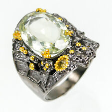 Best Seller Natural Green Amethyst 925 Sterling Silver Ring Size 7.5/R90490