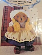 """New! Treasured Toggery 12"""" Bear Outfit """"Gretta Dutch Maid"""" w Wooden Shoes & Wig"""