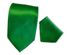 Men's  green solid color tie with hanky