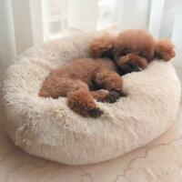 Pet Dog Cat Calming Bed Warm Plush Round Nest Comfy New Sleeping Kennel Cav S8K6