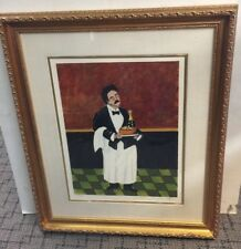 Guy Buffet Champaigne Waiter Original  Serigraph Framed Matted Signed & Numbered